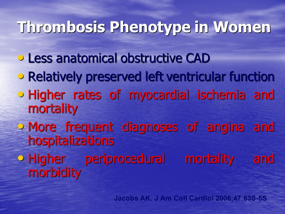 Thrombosis Phenotype in Women