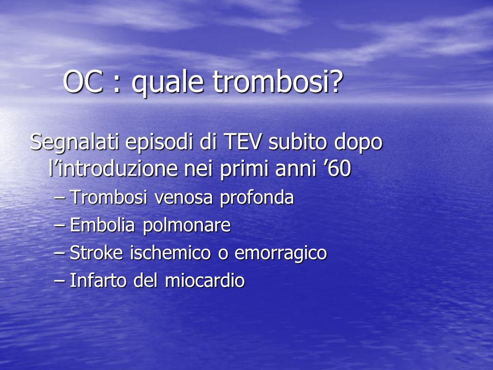 OC : quale trombosi Segnalati episodi di TEV subito dopo l'introduzione nei primi anni '60. Trombosi venosa profonda.