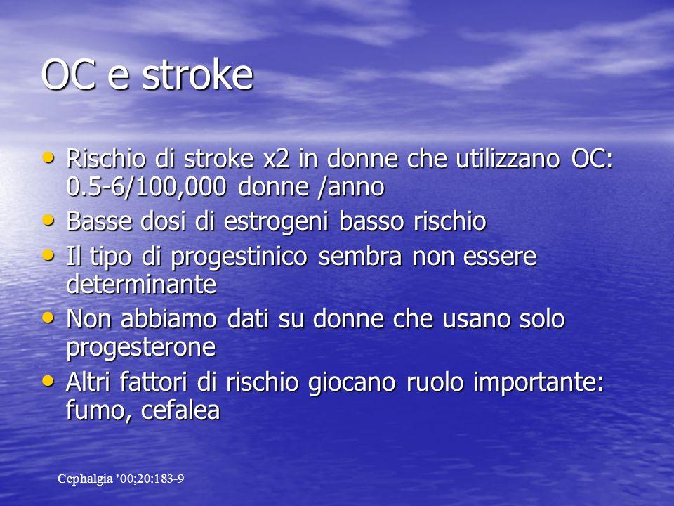 OC e stroke Rischio di stroke x2 in donne che utilizzano OC: 0.5-6/100,000 donne /anno. Basse dosi di estrogeni basso rischio.