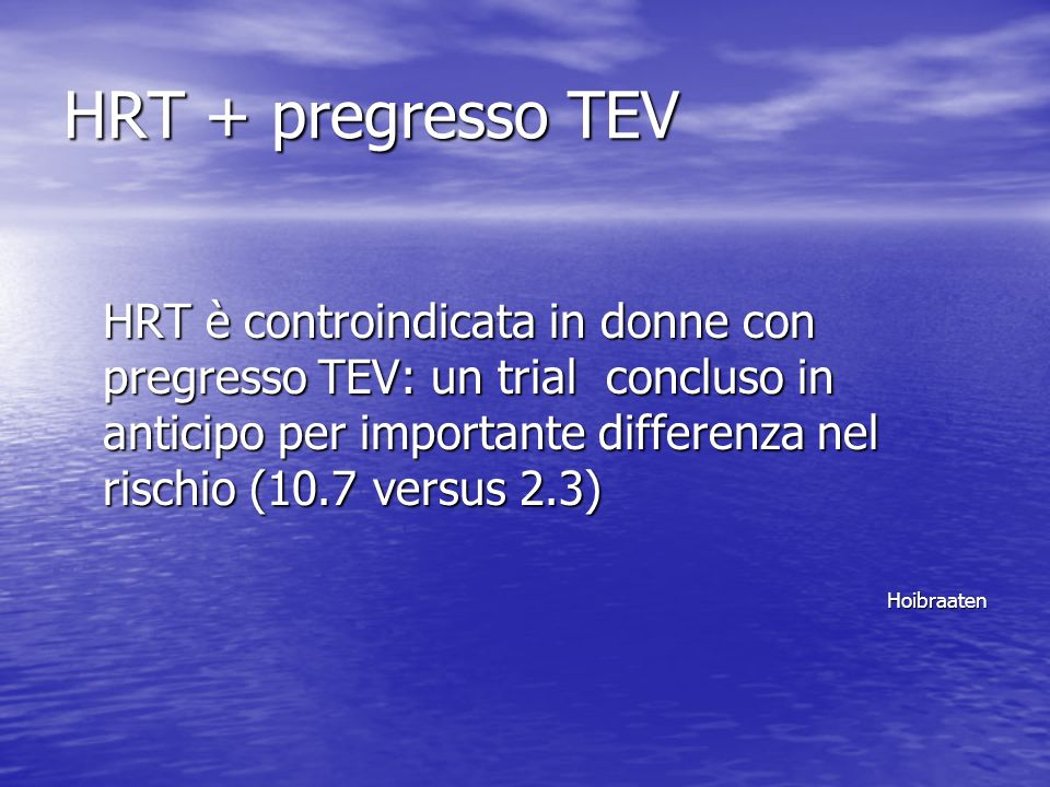 HRT + pregresso TEV