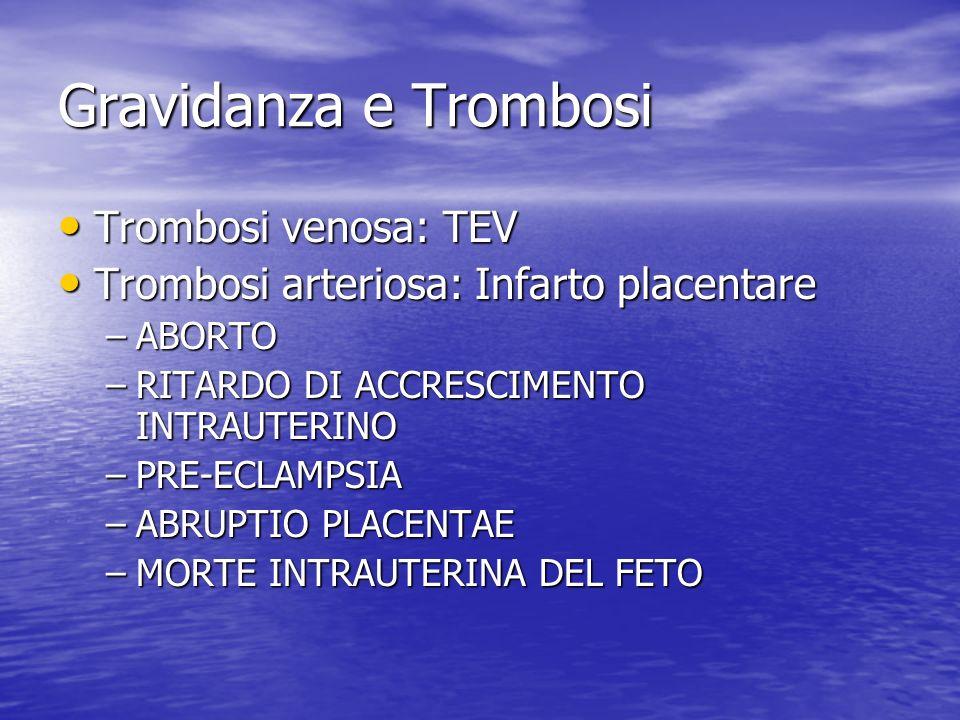 Gravidanza e Trombosi Trombosi venosa: TEV