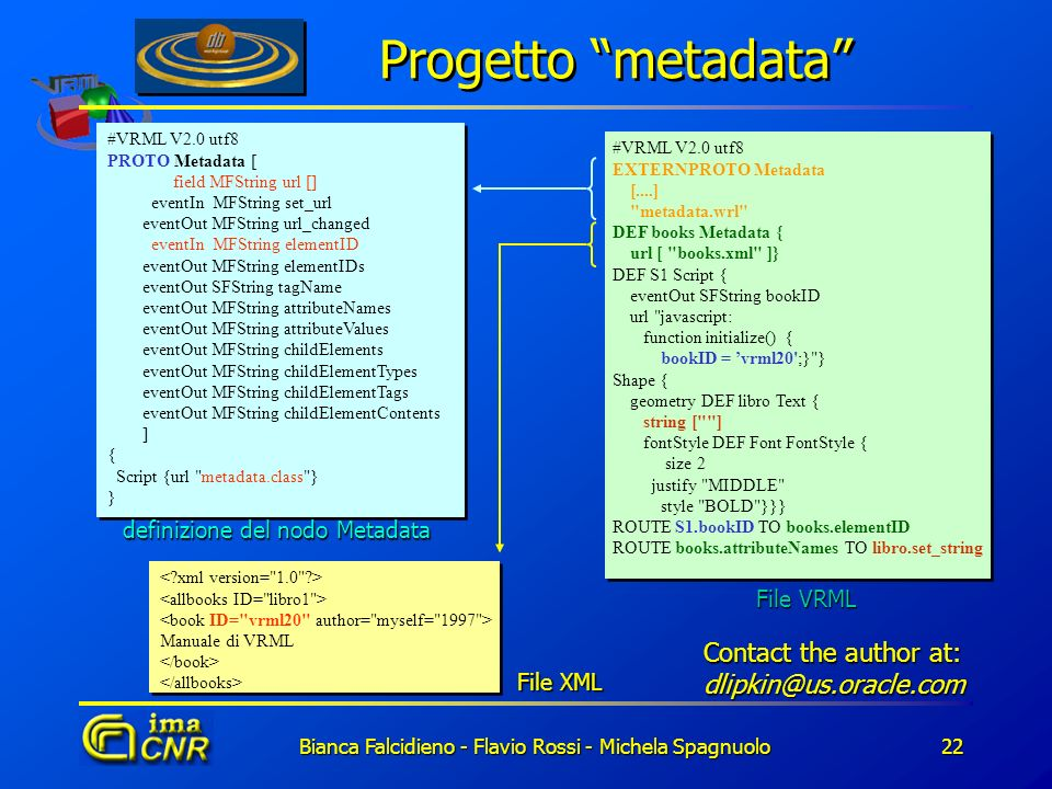 Progetto metadata Contact the author at: dlipkin@us.oracle.com