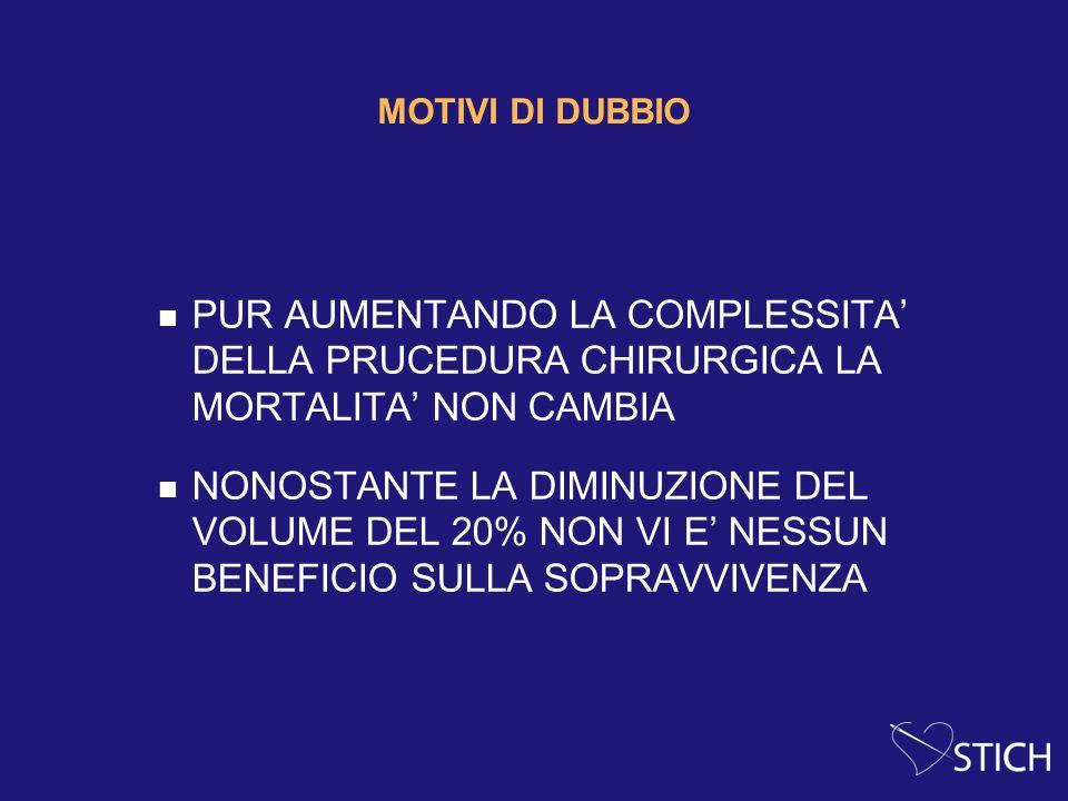 MOTIVI DI DUBBIO PUR AUMENTANDO LA COMPLESSITA' DELLA PRUCEDURA CHIRURGICA LA MORTALITA' NON CAMBIA.
