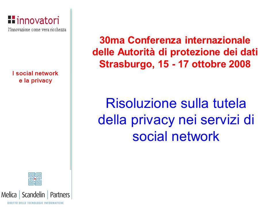 Risoluzione sulla tutela della privacy nei servizi di social network