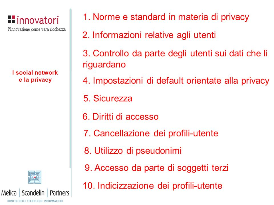 1. Norme e standard in materia di privacy