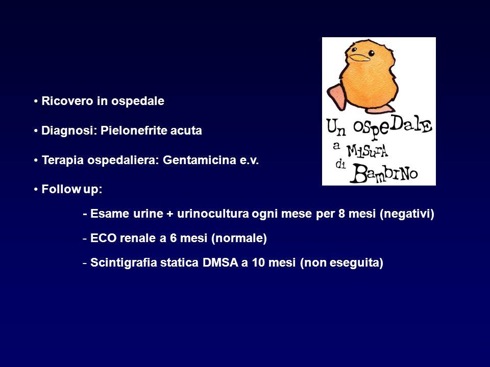 Ricovero in ospedale Diagnosi: Pielonefrite acuta. Terapia ospedaliera: Gentamicina e.v. Follow up: