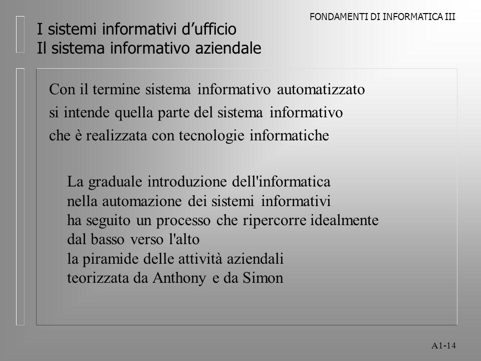 I sistemi informativi d'ufficio Il sistema informativo aziendale