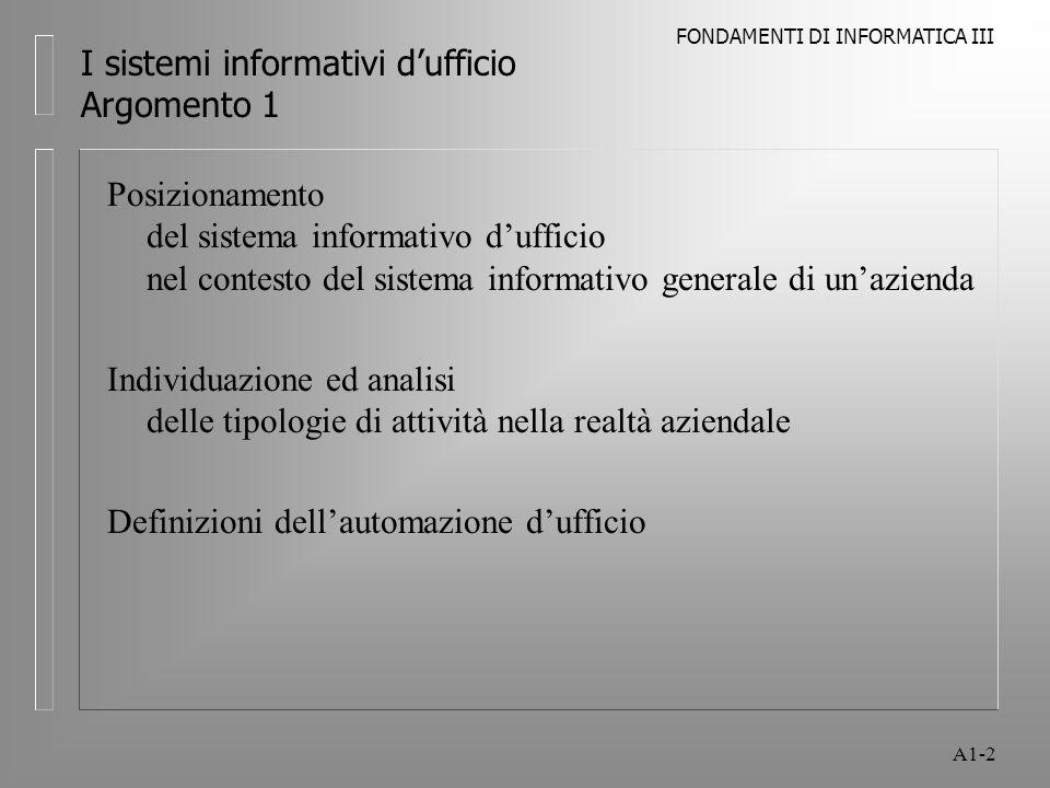 I sistemi informativi d'ufficio Argomento 1