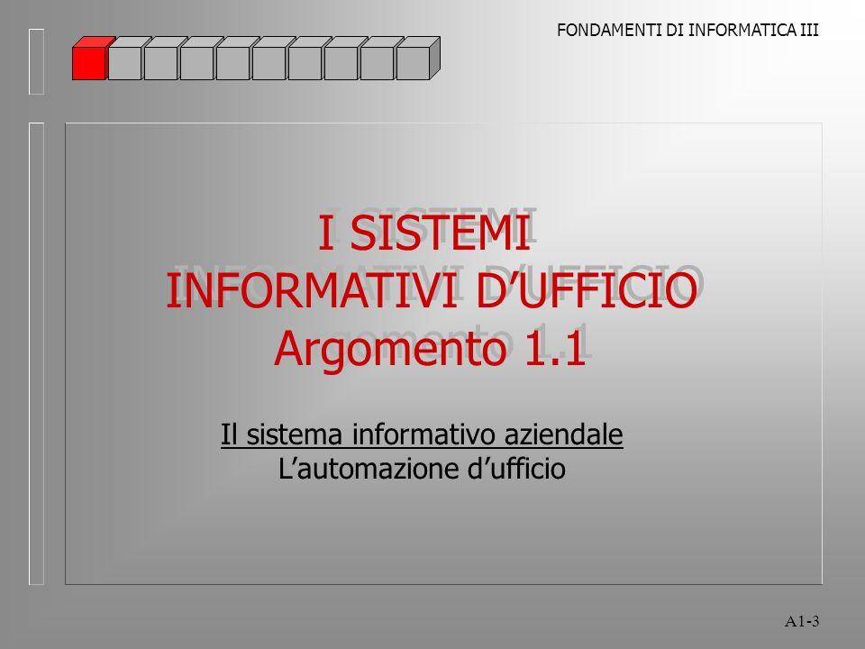 I SISTEMI INFORMATIVI D'UFFICIO Argomento 1.1