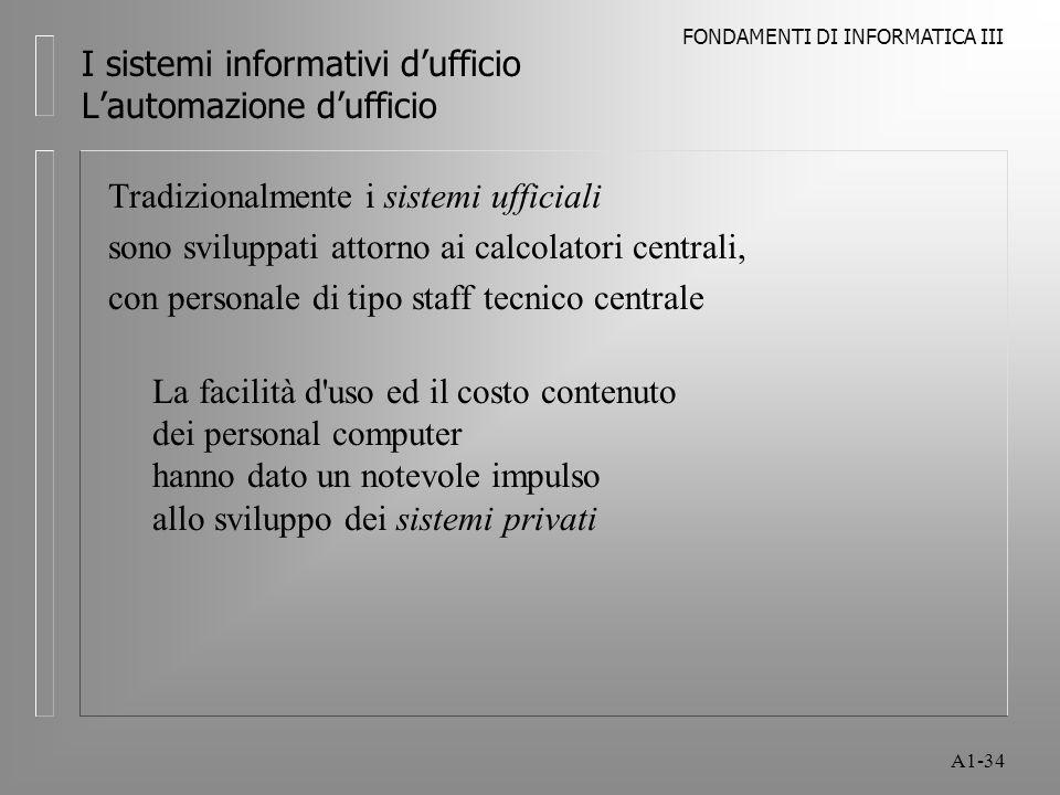 I sistemi informativi d'ufficio L'automazione d'ufficio