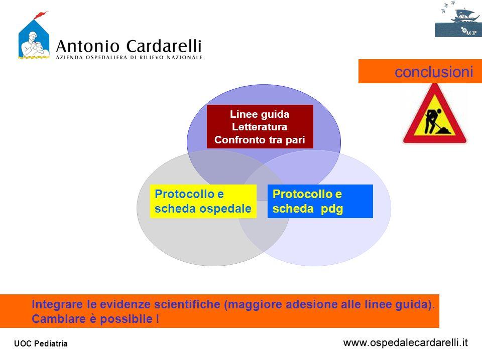 conclusioni Protocollo e scheda ospedale Protocollo e scheda pdg