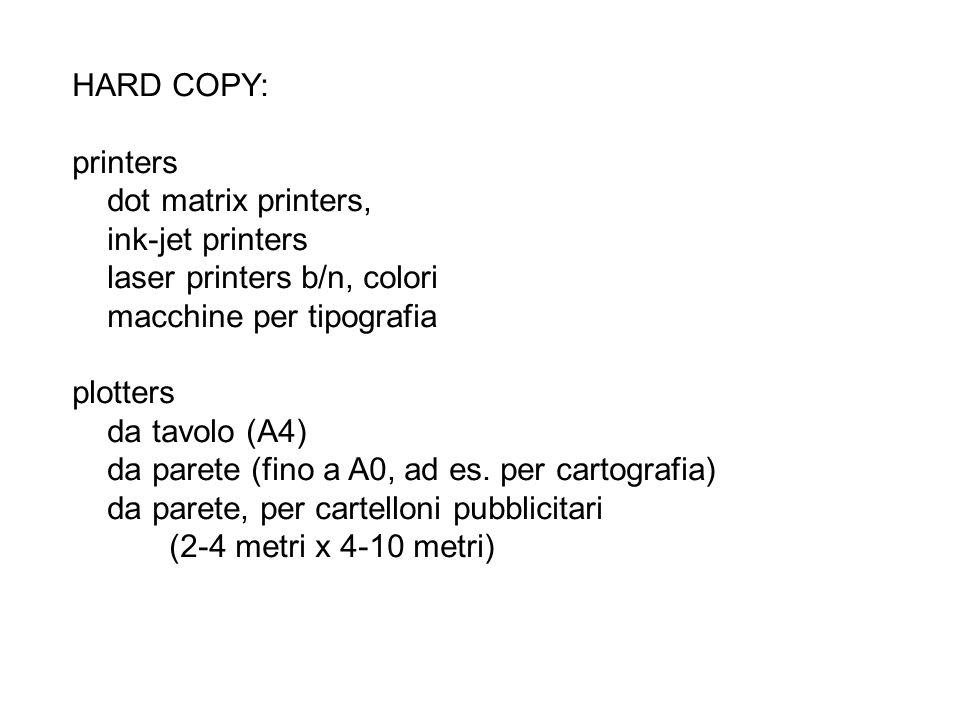 HARD COPY: printers. dot matrix printers, ink-jet printers. laser printers b/n, colori. macchine per tipografia.