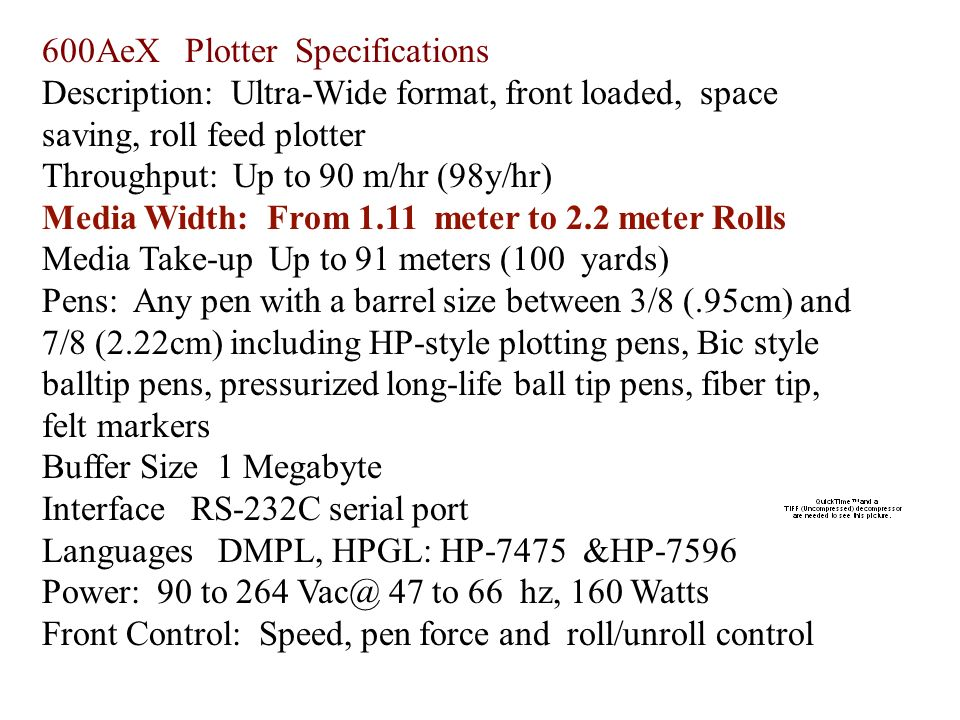 600AeX Plotter Specifications