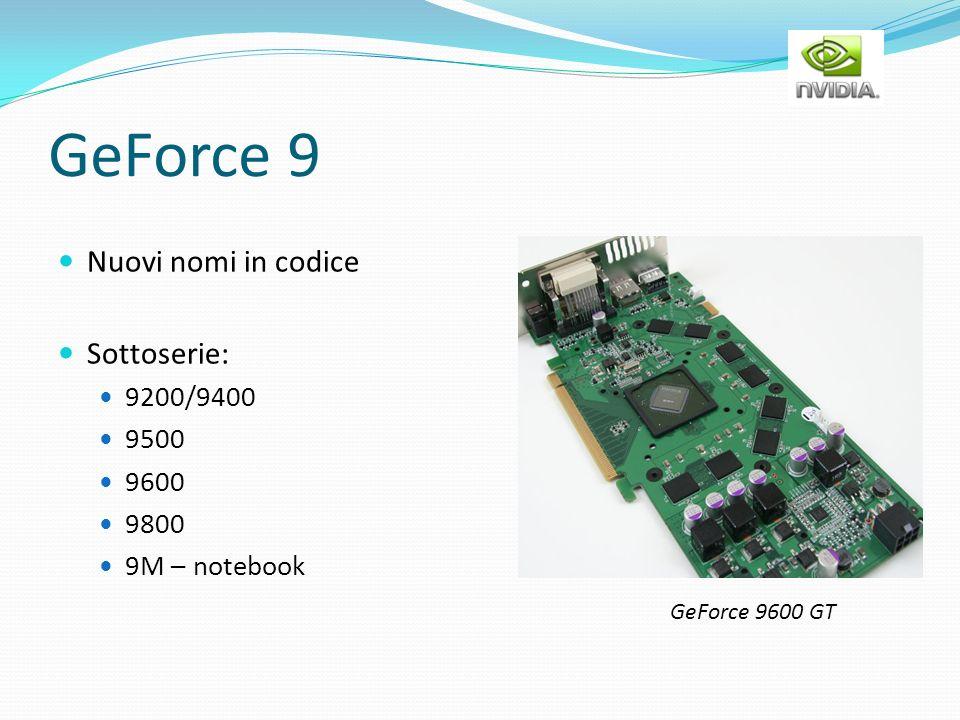 GeForce 9 Nuovi nomi in codice Sottoserie: 9200/9400 9500 9600 9800