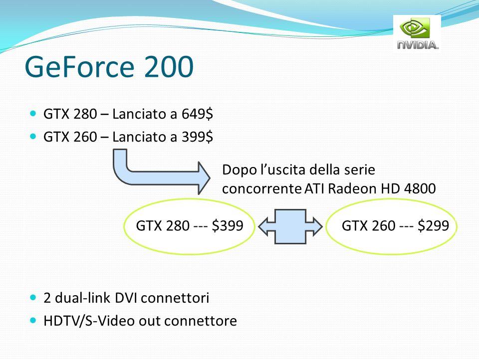 GeForce 200 GTX 280 – Lanciato a 649$ GTX 260 – Lanciato a 399$