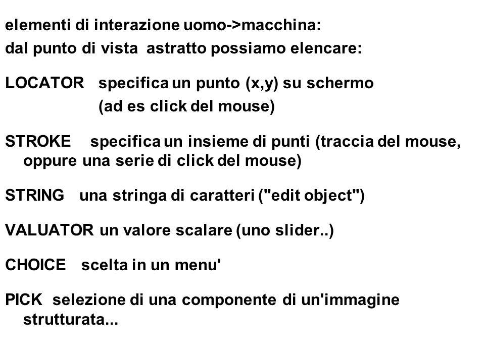 elementi di interazione uomo->macchina: