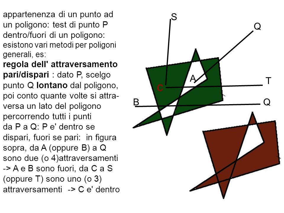 appartenenza di un punto ad un poligono: test di punto P dentro/fuori di un poligono: esistono vari metodi per poligoni generali, es: