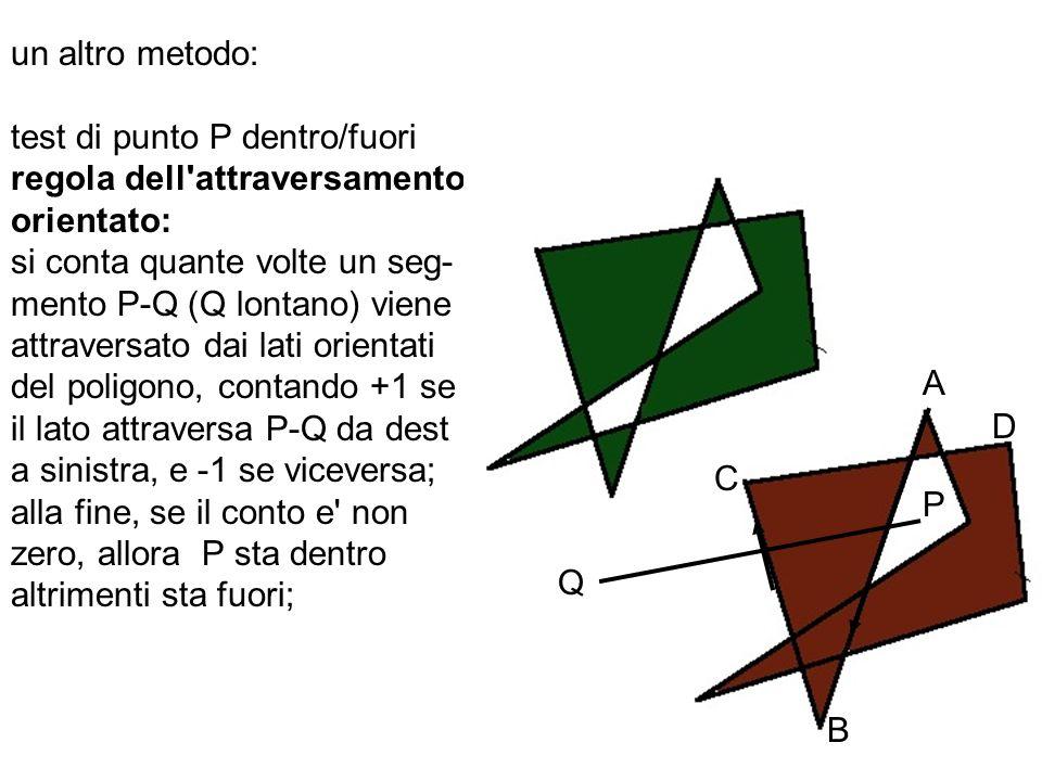 un altro metodo: test di punto P dentro/fuori. regola dell attraversamento. orientato: si conta quante volte un seg-