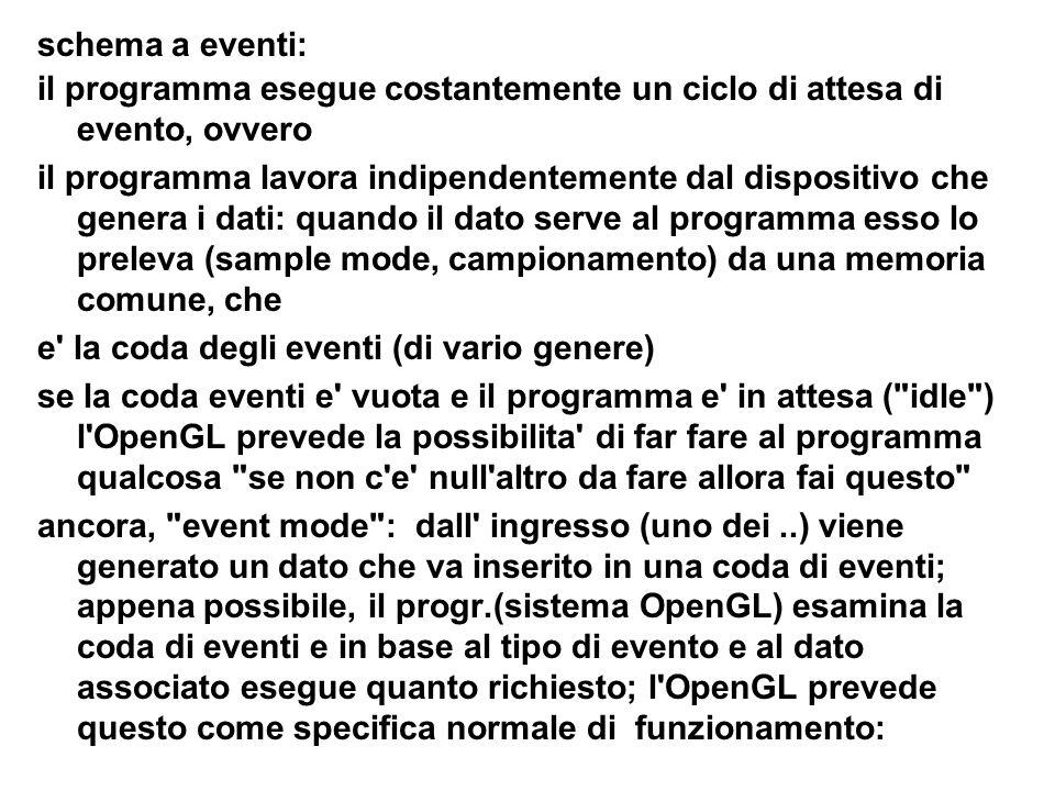 schema a eventi: il programma esegue costantemente un ciclo di attesa di evento, ovvero.
