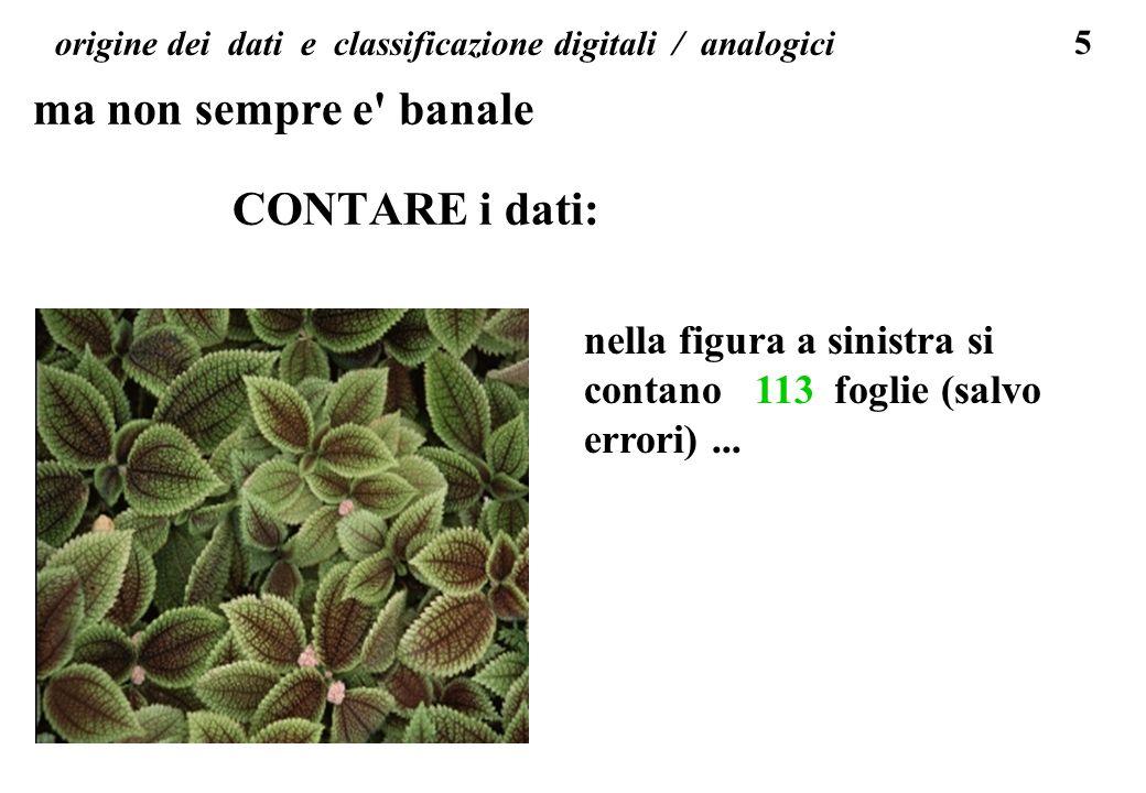origine dei dati e classificazione digitali / analogici