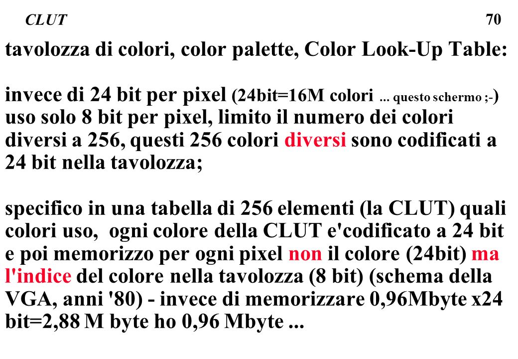 tavolozza di colori, color palette, Color Look-Up Table: