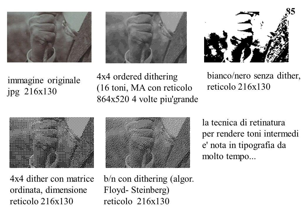 4x4 ordered dithering (16 toni, MA con reticolo. 864x520 4 volte piu grande. bianco/nero senza dither,