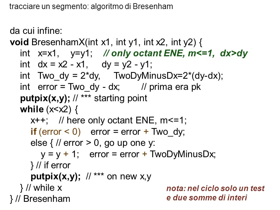 void BresenhamX(int x1, int y1, int x2, int y2) {