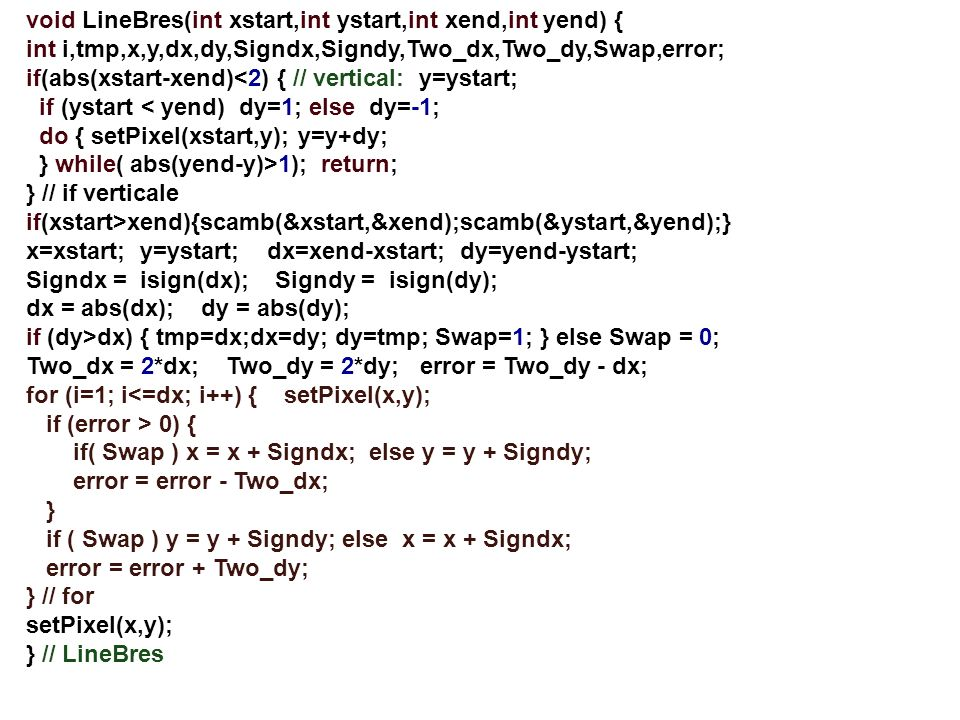 void LineBres(int xstart,int ystart,int xend,int yend) {