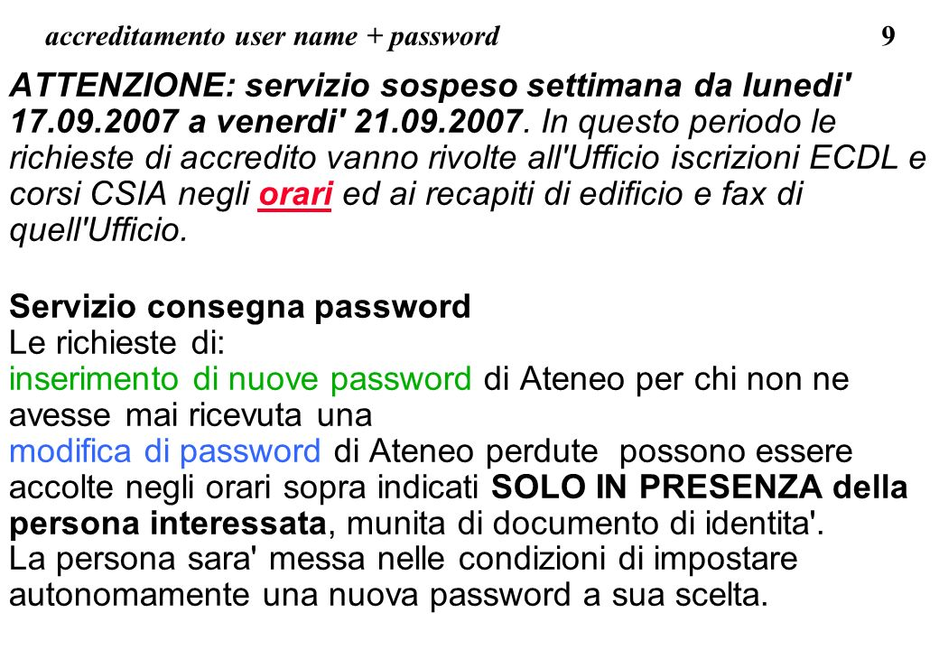 accreditamento user name + password