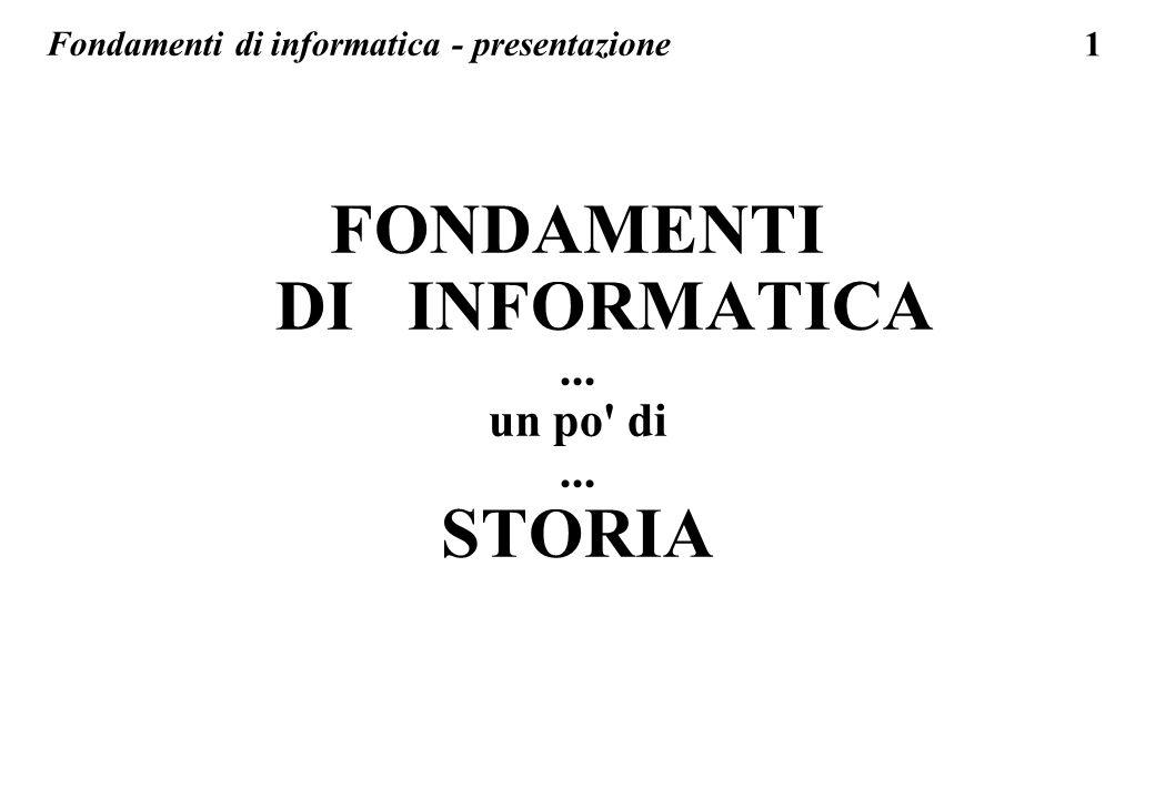 FONDAMENTI DI INFORMATICA STORIA
