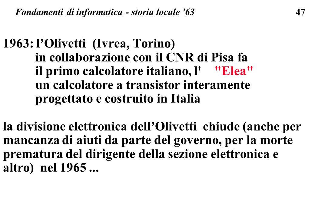 Fondamenti di informatica - storia locale 63