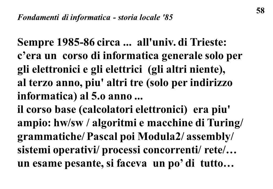 Sempre 1985-86 circa ... all univ. di Trieste: