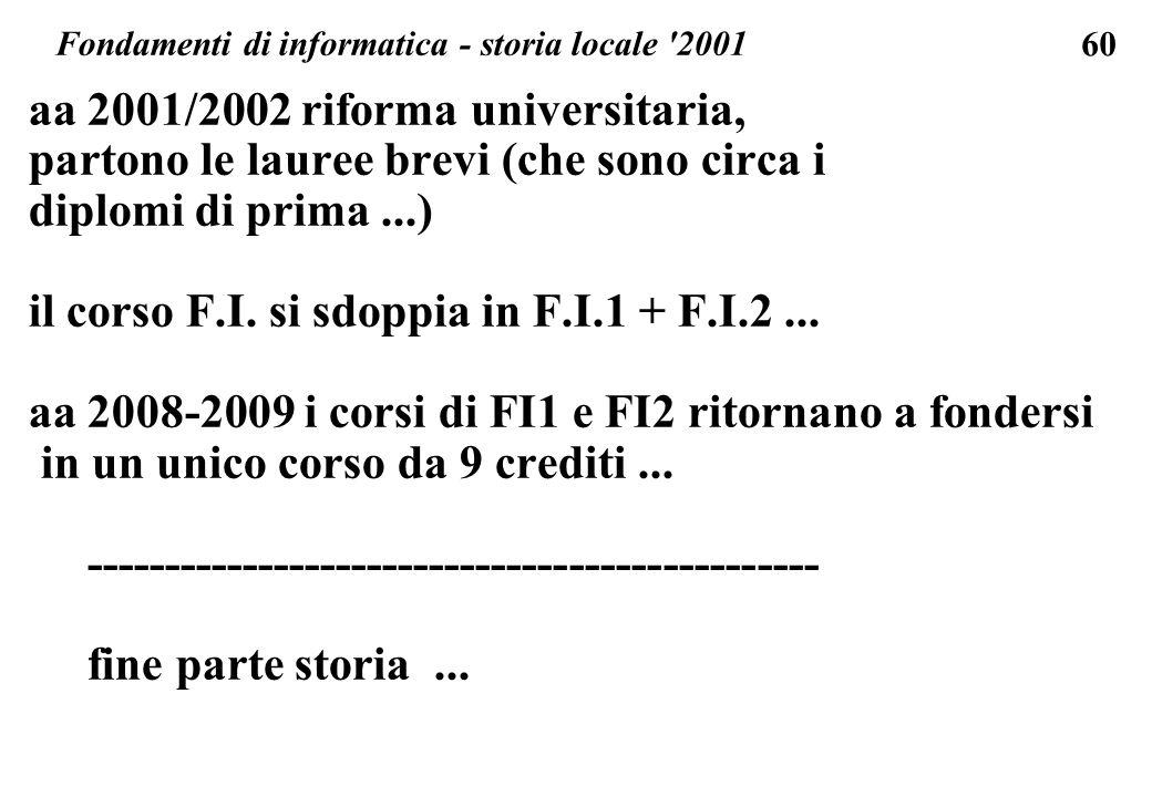 Fondamenti di informatica - storia locale 2001