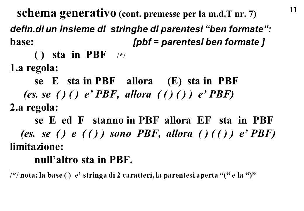 schema generativo (cont. premesse per la m.d.T nr. 7)