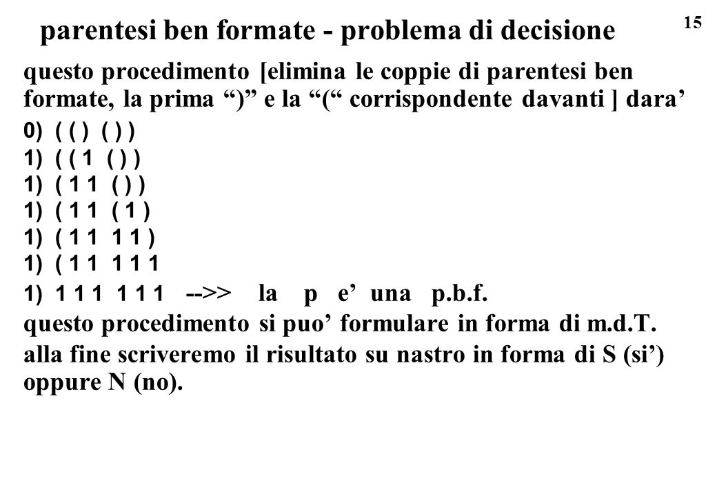 parentesi ben formate - problema di decisione