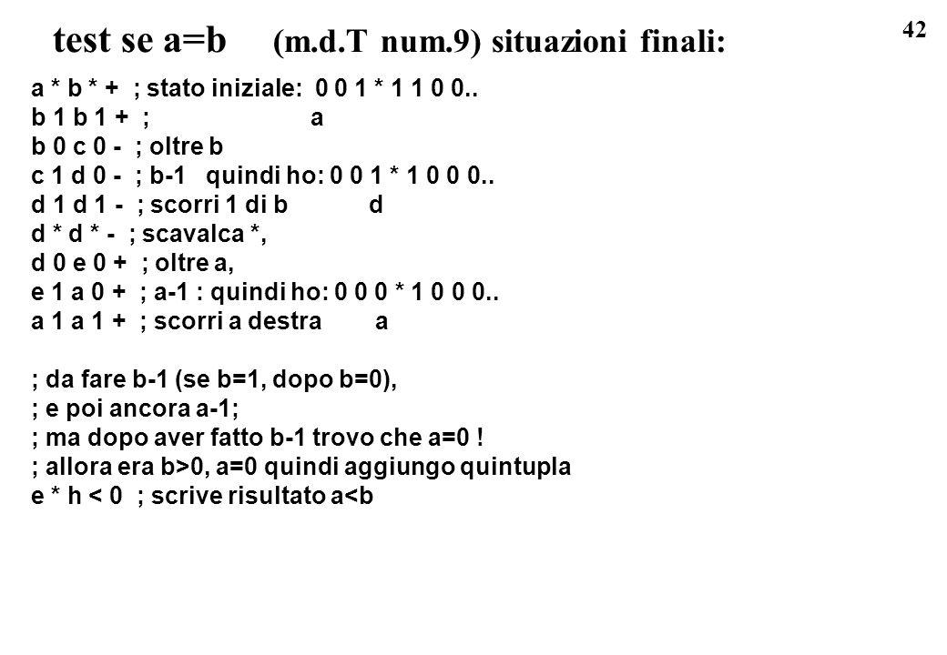 test se a=b (m.d.T num.9) situazioni finali: