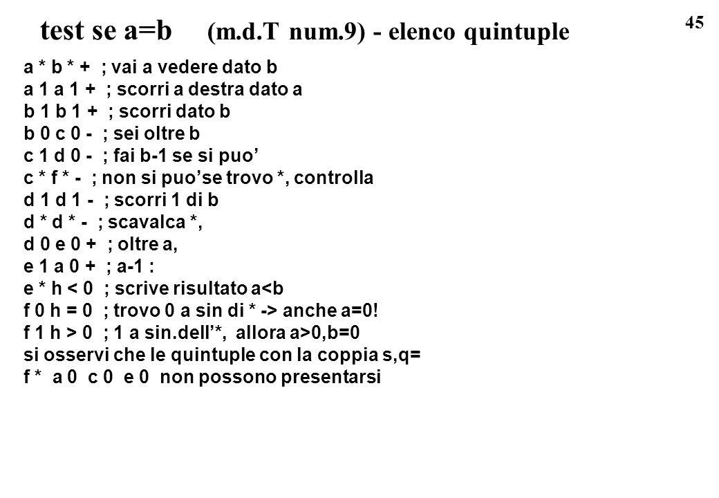 test se a=b (m.d.T num.9) - elenco quintuple