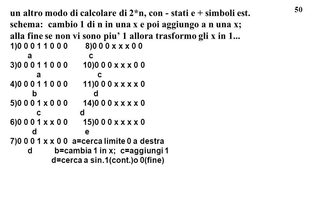 un altro modo di calcolare di 2*n, con - stati e + simboli est.