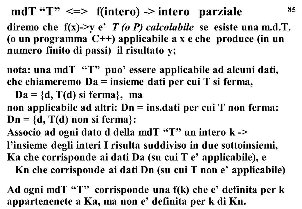 mdT T <=> f(intero) -> intero parziale