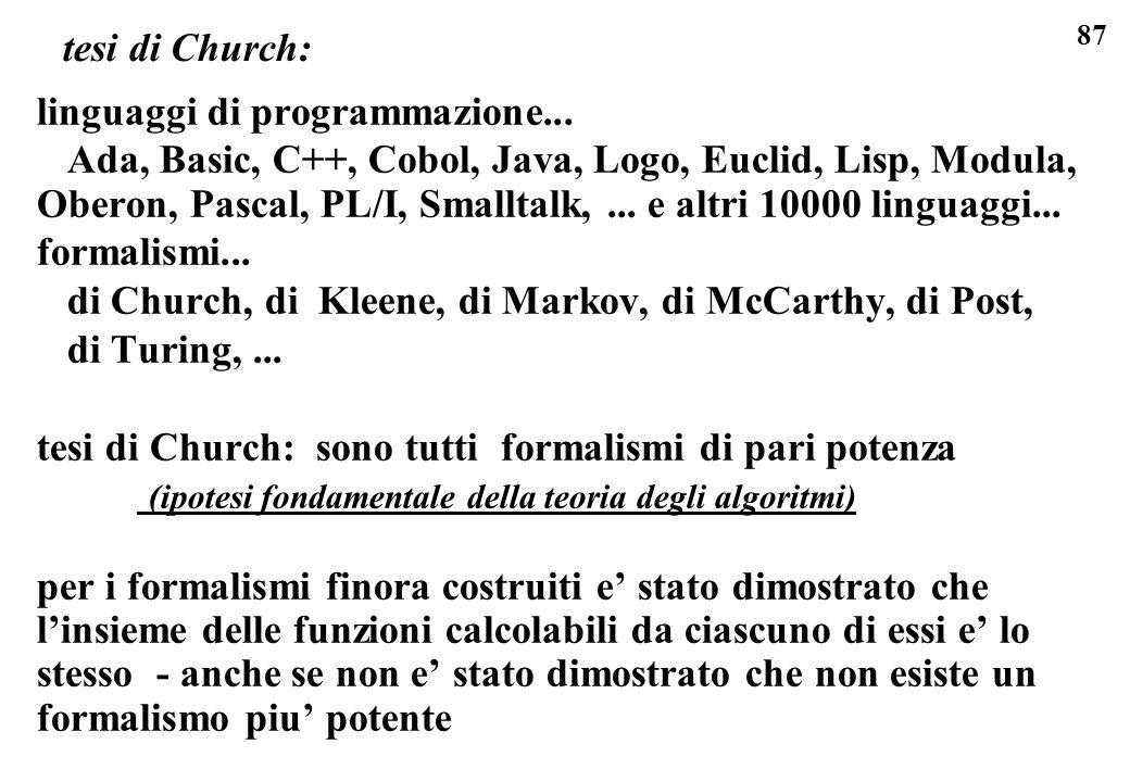 tesi di Church: linguaggi di programmazione...