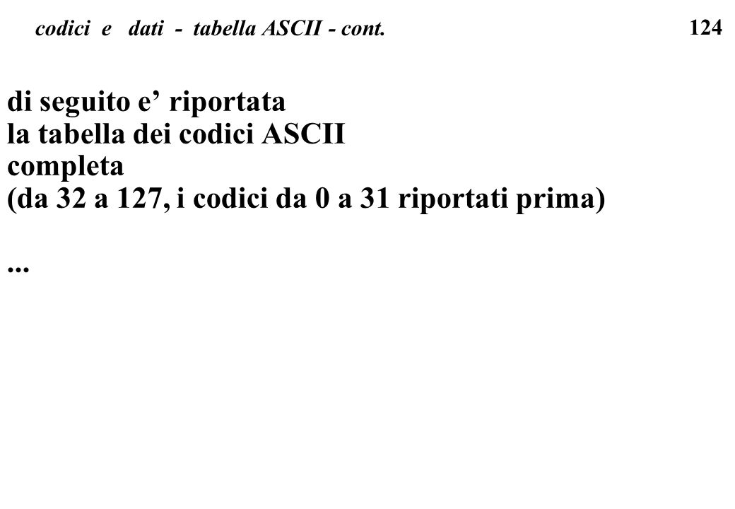 codici e dati - tabella ASCII - cont.