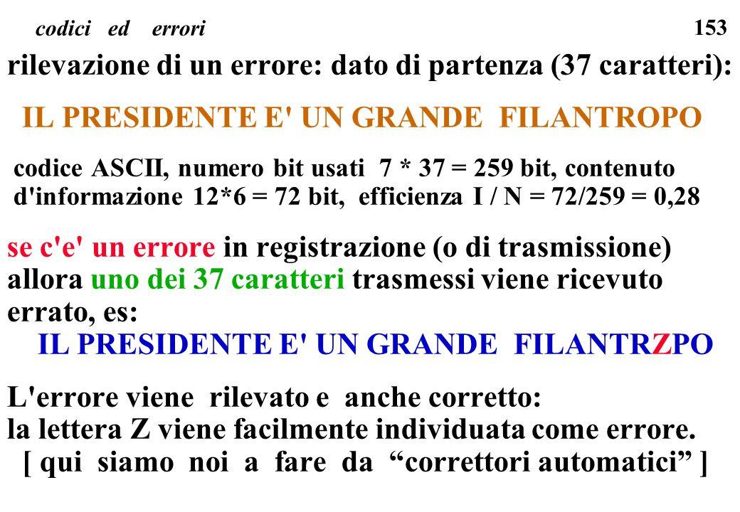 rilevazione di un errore: dato di partenza (37 caratteri):