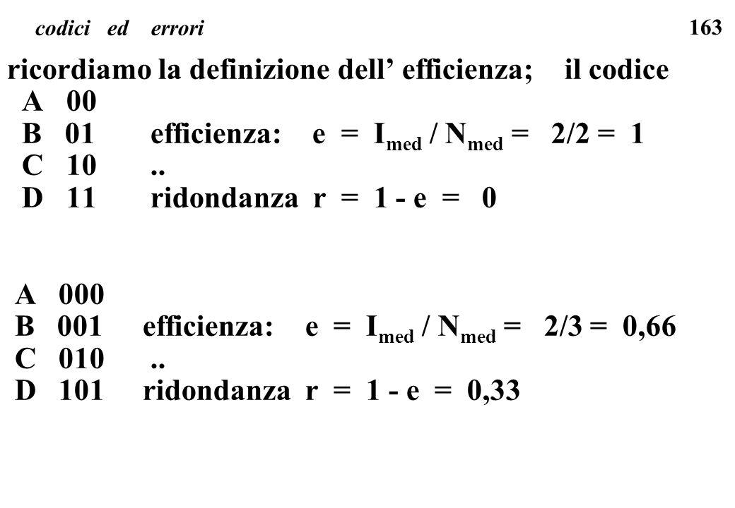 ricordiamo la definizione dell' efficienza; il codice A 00