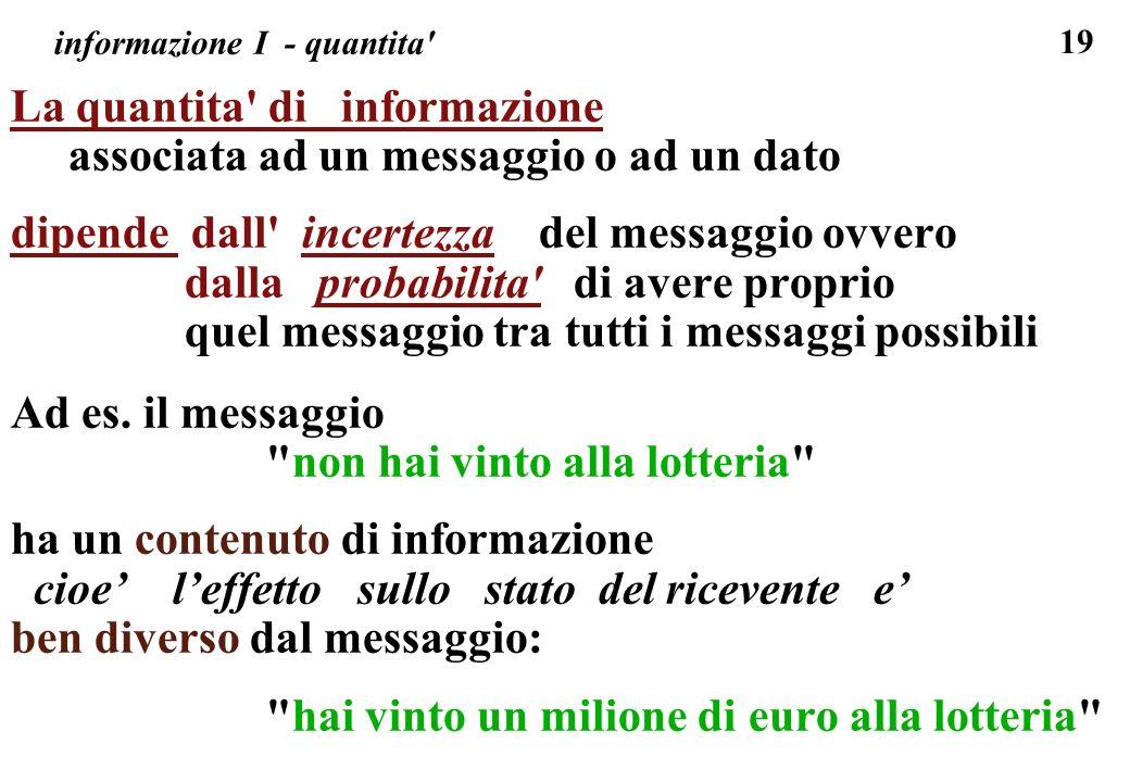 informazione I - quantita