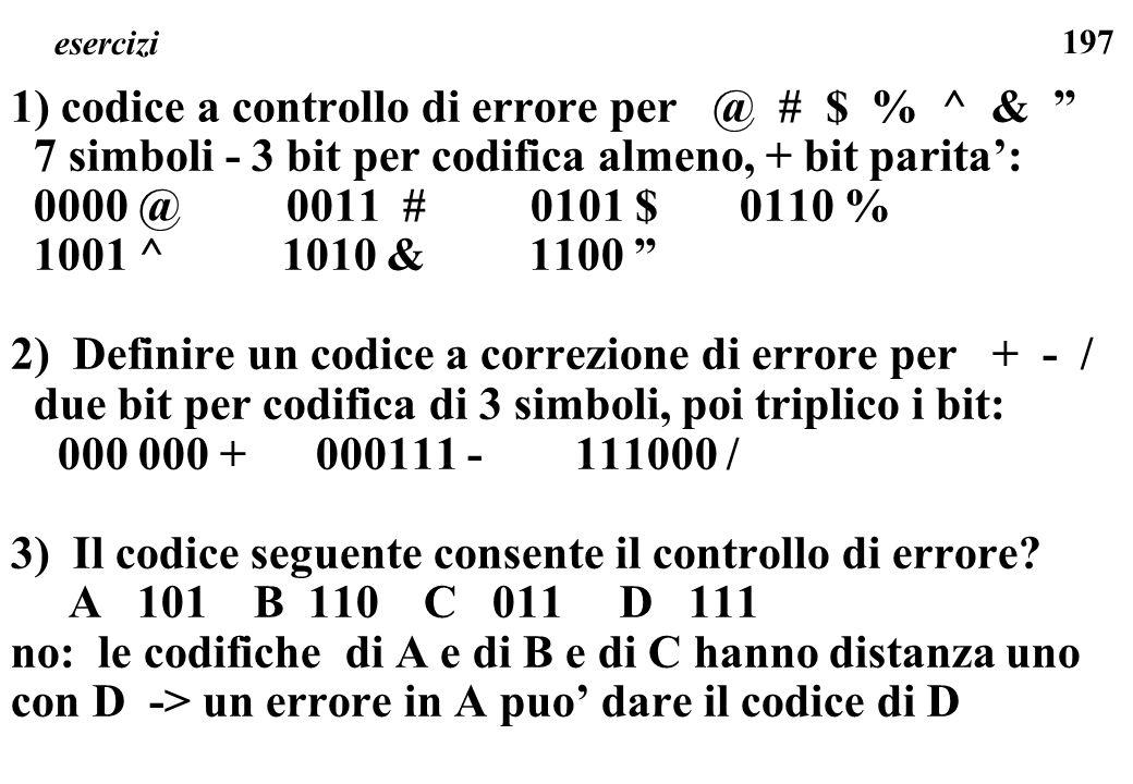 1) codice a controllo di errore per @ # $ % ^ &