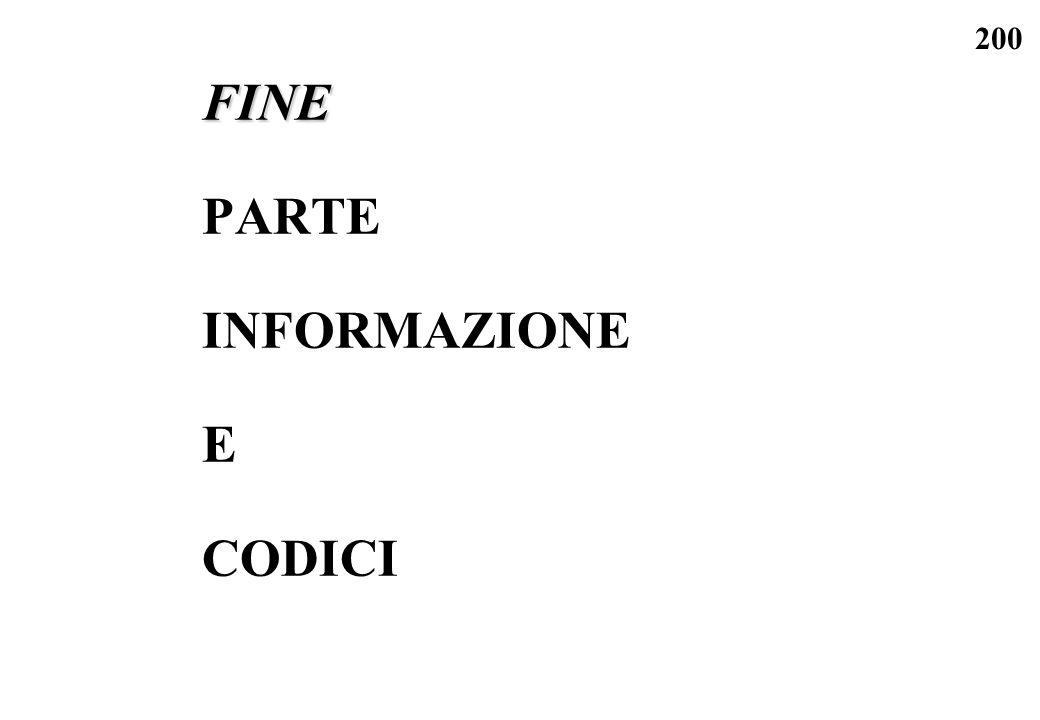 FINE PARTE INFORMAZIONE E CODICI