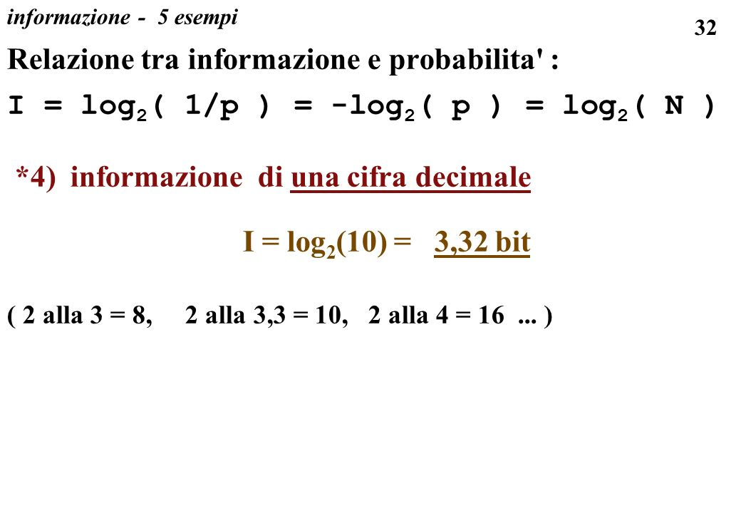 Relazione tra informazione e probabilita :