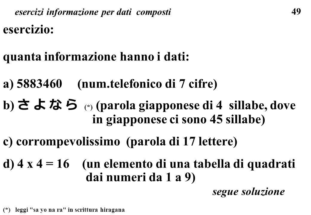 esercizi informazione per dati composti