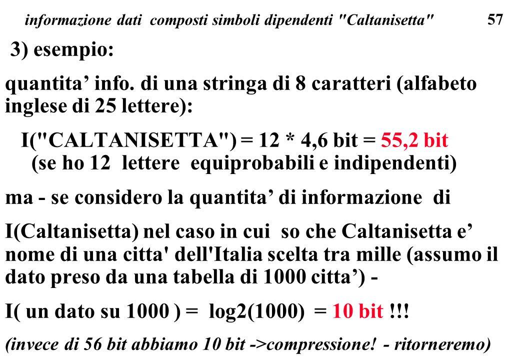 informazione dati composti simboli dipendenti Caltanisetta