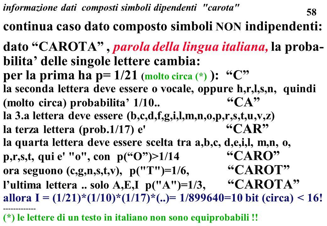 informazione dati composti simboli dipendenti carota